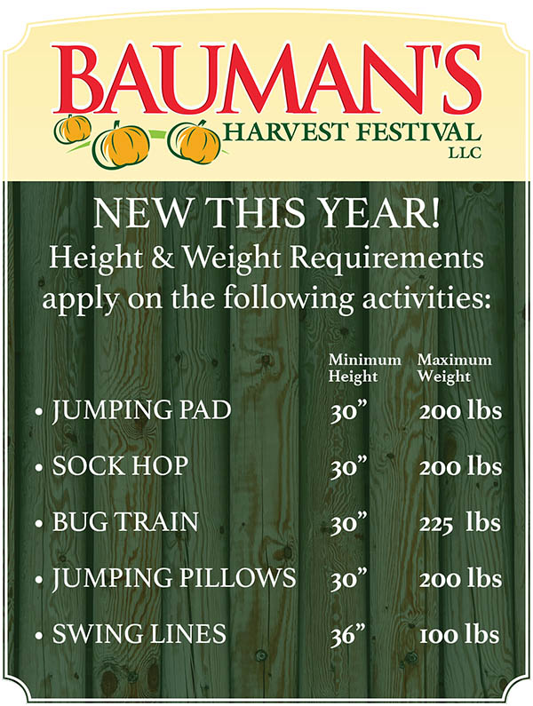Height & Weight Harvest Activities Requirements