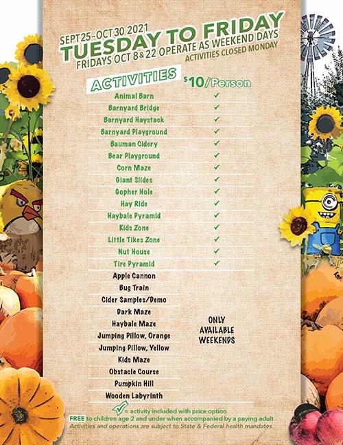 2021 Bauman's Harvest Festival Weekday